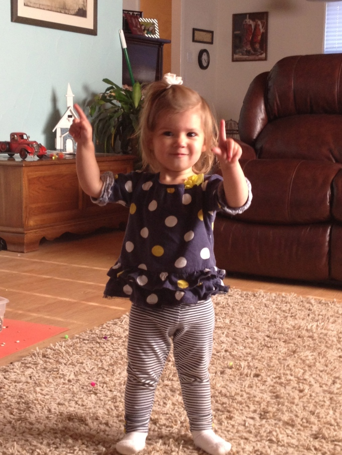 This is how she gives two thumbs up.  I love it!